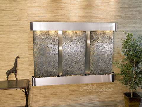 Wall Fountain - Olympus Falls - Green FeatherStone - Stainless Steel - Rounded - ofr2012