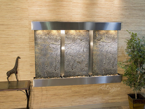 Wall Fountain - Olympus Falls - Green FeatherStone - Stainless Steel - Squared - ofs2012
