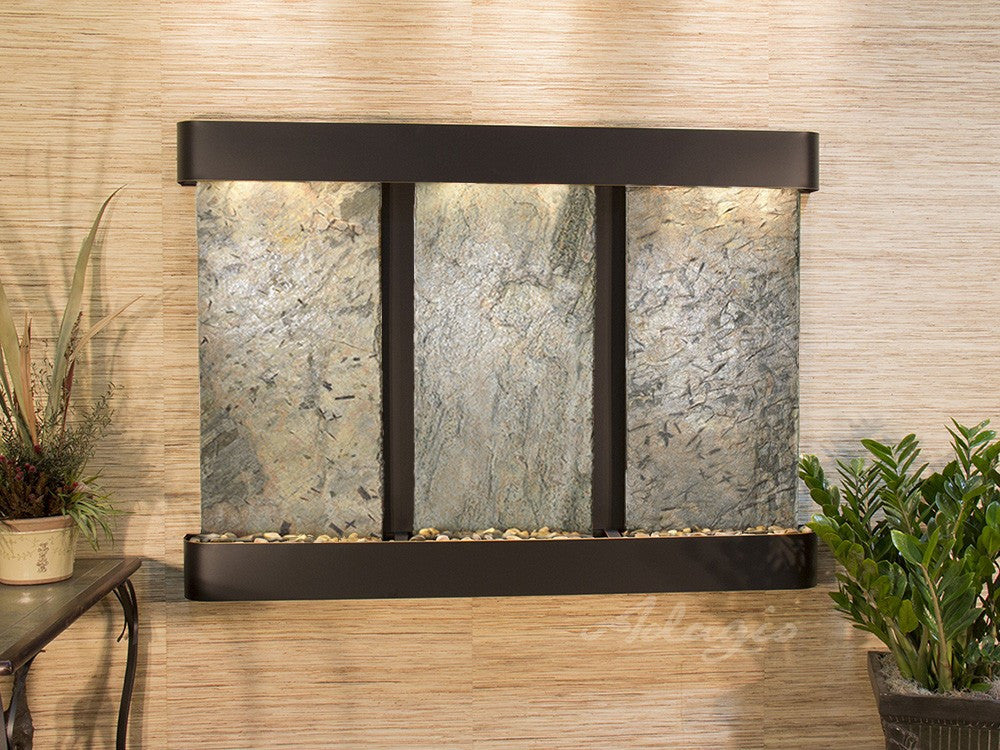 Wall Fountain - Olympus Falls - Green Slate - Blackened Copper - Rounded - ofr1502