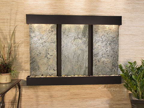 Wall Fountain - Olympus Falls - Green Slate - Blackened Copper - Squared  - ofs1502