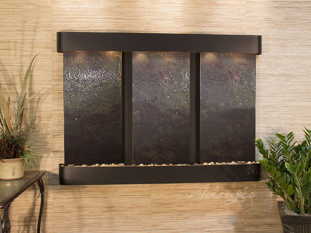 Wall Fountain - Olympus Falls - Multi-Color FeatherStone - Blackened Copper - Rounded - ofr1514