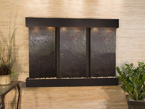 Wall Fountain - Olympus Falls - Multi-Color FeatherStone - Blackened Copper - Squared - ofs1514