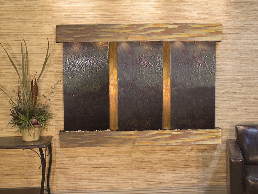 Wall Fountain - Olympus Falls - Multi-Color FeatherStone - Rustic Copper - Squared - ofs1014