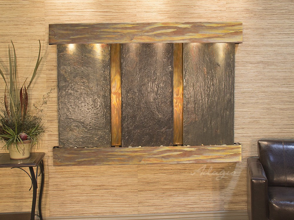 Wall Fountain - Olympus Falls - Multi Color Slate - Rustic Copper - Squared Trim - ofs1004