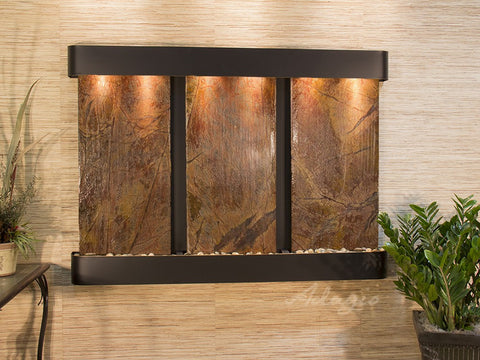 Wall Fountain - Olympus Falls - Rainforest Brown Marble - Blackened Copper - Rounded - ofr1506