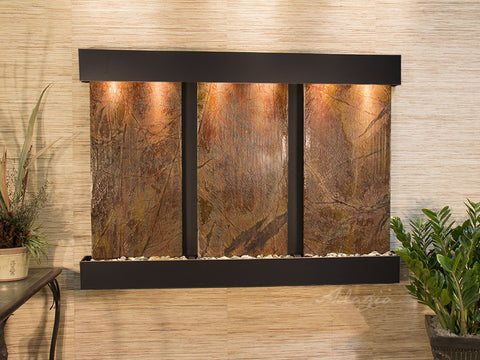 Wall Fountain - Olympus Falls - Rainforest Brown Marble - Blackened Copper - Squared - ofs1506