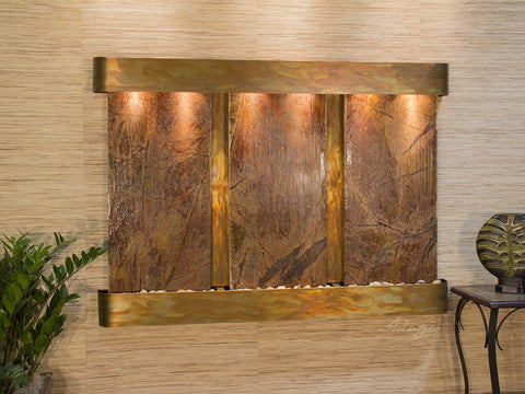 Wall Fountain - Olympus Falls - Rainforest Brown Marble - Rustic Copper - Rounded - ofr1006