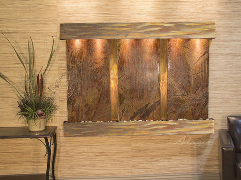 Wall Fountain - Olympus Falls - Rainforest Brown Marble - Rustic Copper - Squared - ofs1006