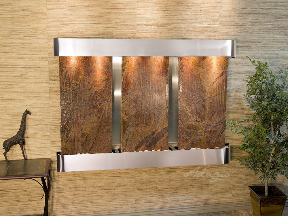 Wall Fountain - Olympus Falls - Rainforest Brown Marble - Stainless Steel - Rounded - ofr2006