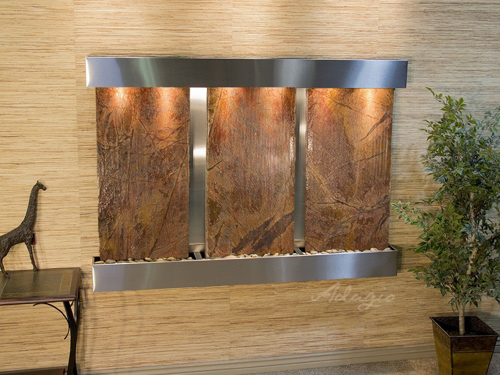 Wall Fountain - Olympus Falls - Rainforest Brown Marble - Stainless Steel - Squared - ofs2006