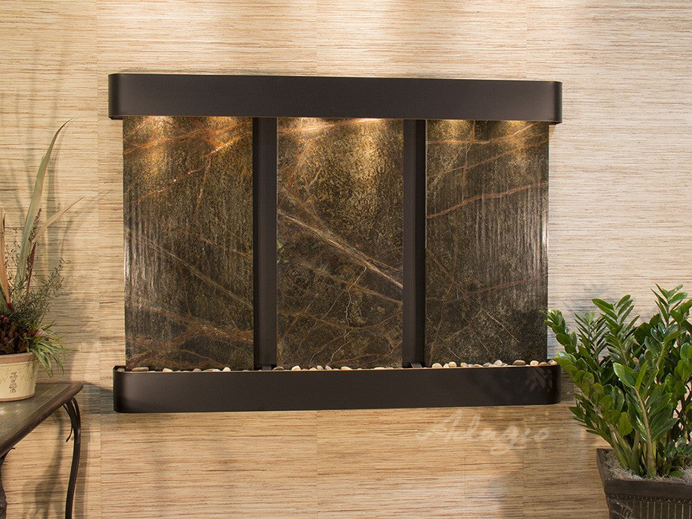 Wall Fountain - Olympus Falls - Rainforest Green Marble - Blackened Copper - Rounded - ofr1505