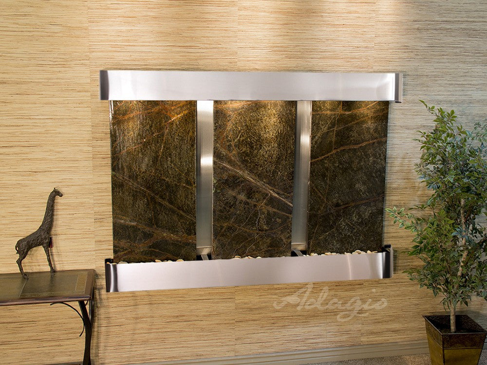 Wall Fountain - Olympus Falls - Rainforest Green Marble - Stainless Steel - Rounded - ofr2005