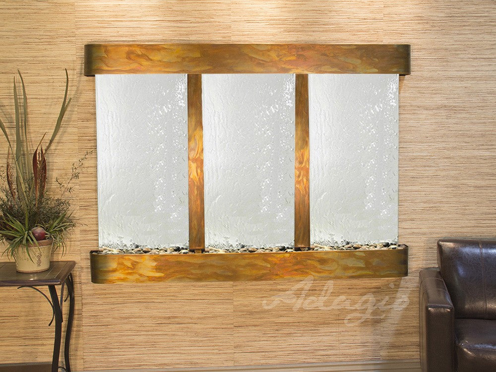 Wall Fountain - Olympus Falls - Silver Mirror - Rustic Copper - Rounded - ofr1040