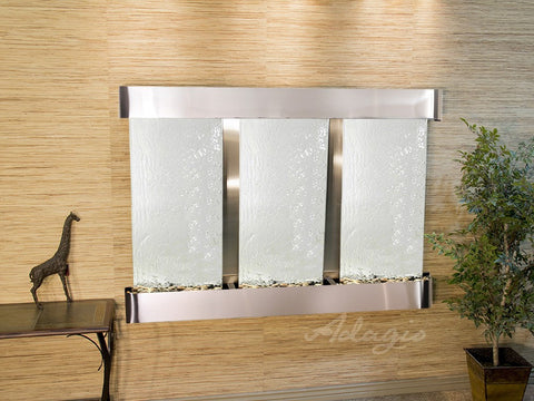 Wall Fountain - Olympus Falls - Silver Mirror - Stainless Steel - Rounded - ofr2040