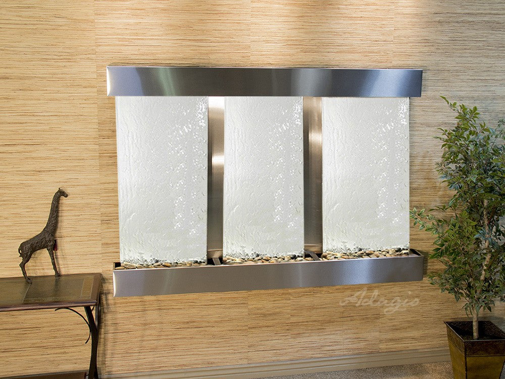 Wall Fountain - Olympus Falls - Silver Mirror - Stainless Steel - Squared - ofs2040