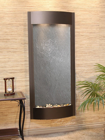 Wall Fountain - Pacifica Waters - Black FeatherStone - Antique Bronze - pwa3511