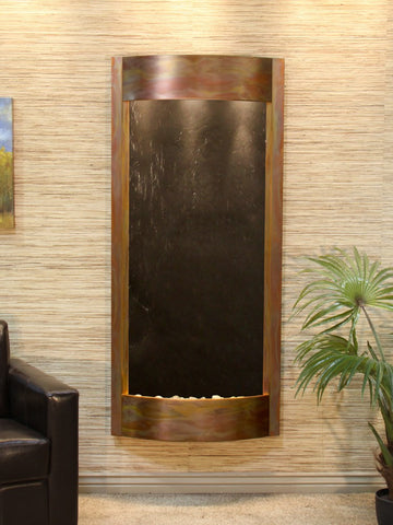 Wall Fountain - Pacifica Waters - Black FeatherStone - Rustic Copper - pwa1011