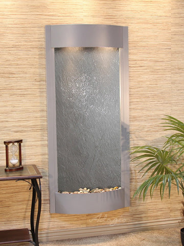 Wall Fountain - Pacifica Waters - Black FeatherStone - Silver Metallic - pwa4511