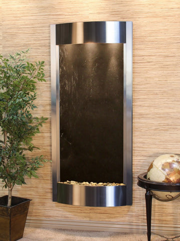 Wall Fountain - Pacifica Waters - Black FeatherStone - Stainless Steel - pwa2011