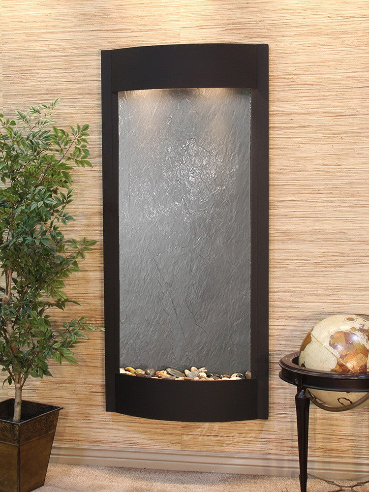 Wall Fountain - Pacifica Waters - Black FeatherStone - Textured Black - pwa1711