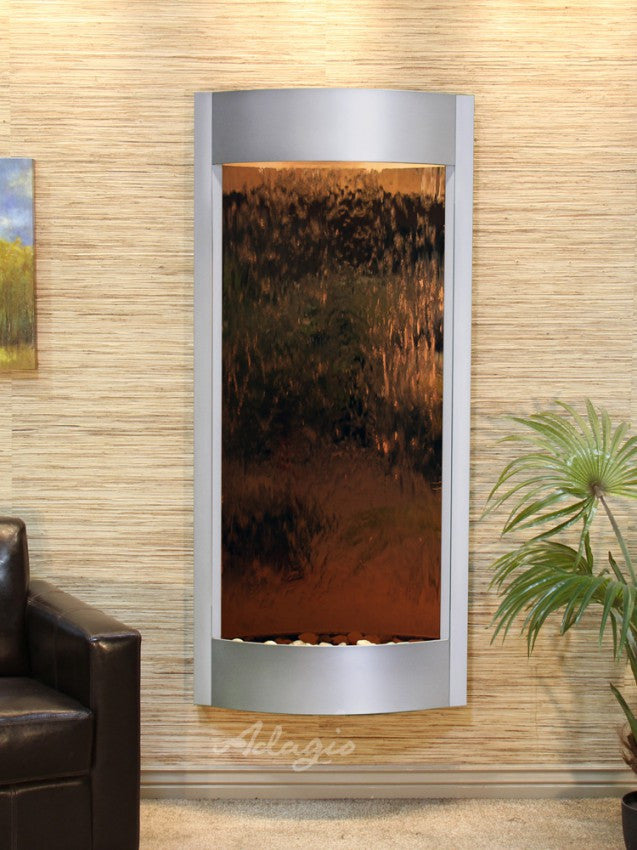 Wall Fountain - Pacifica Waters - Bronze Mirror - Silver Metallic - pwa45412