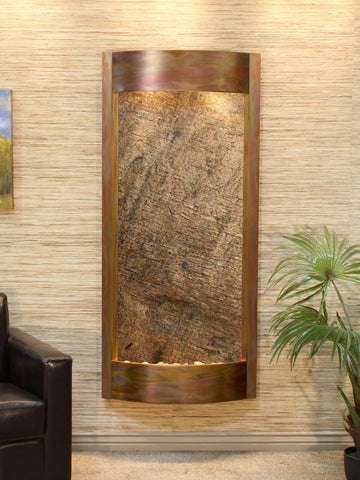 Wall Fountain - Pacifica Waters - Green FeatherStone - Rustic Copper - pwa1012