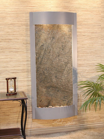 Wall Fountain - Pacifica Waters - Green FeatherStone - Silver Metallic - pwa4512