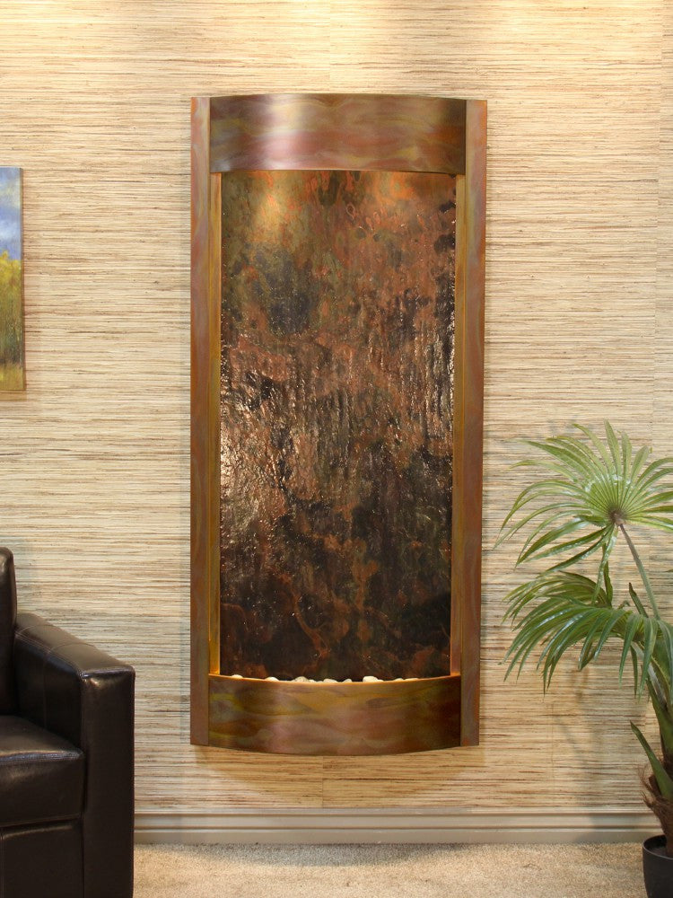 Wall Fountain - Pacifica Waters - Multi-Color FeatherStone - Rustic Copper - pwa1014