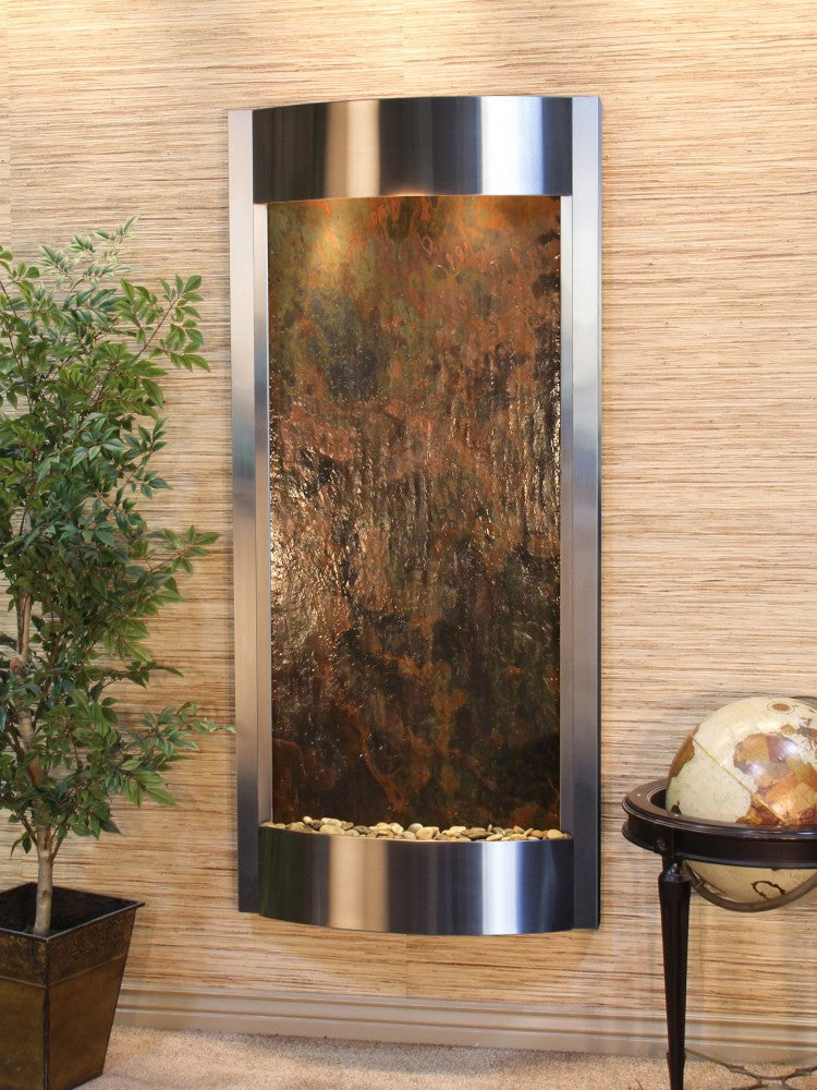 Wall Fountain - Pacifica Waters - Multi-Color FeatherStone - Stainless Steel - pwa2014