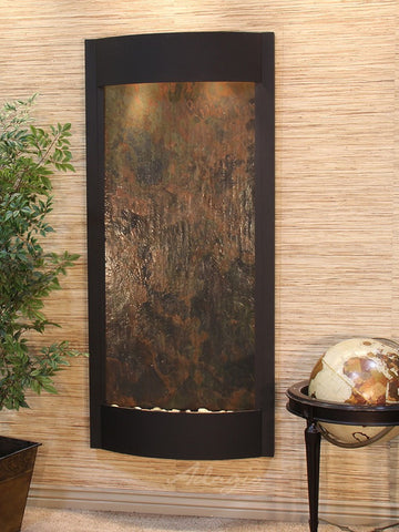 Wall Fountain - Pacifica Waters - Multi-Color FeatherStone - Textured Black - pwa1714