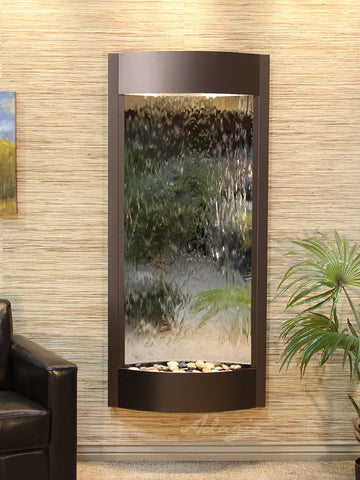 Wall Fountain - Pacifica Waters - Silver Mirror - Antique Bronze - pwa3540