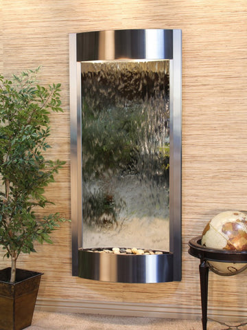 Wall Fountain - Pacifica Waters - Silver Mirror - Stainless Steel - pwa2040