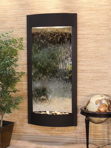 Wall Fountain - Pacifica Waters - Silver Mirror - Textured Black - pwa1740