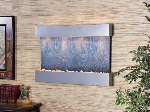 Wall Fountain - Reflection Creek - Black FeatherStone - Silver Metallic - rcs4511