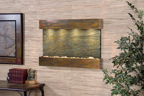 Wall Fountain - Reflection Creek - Green Slate - Rustic Copper - rcs1002a