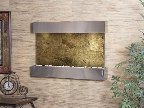 Wall Fountain - Reflection Creek - Green Slate - Stainless Steel - rcs2002