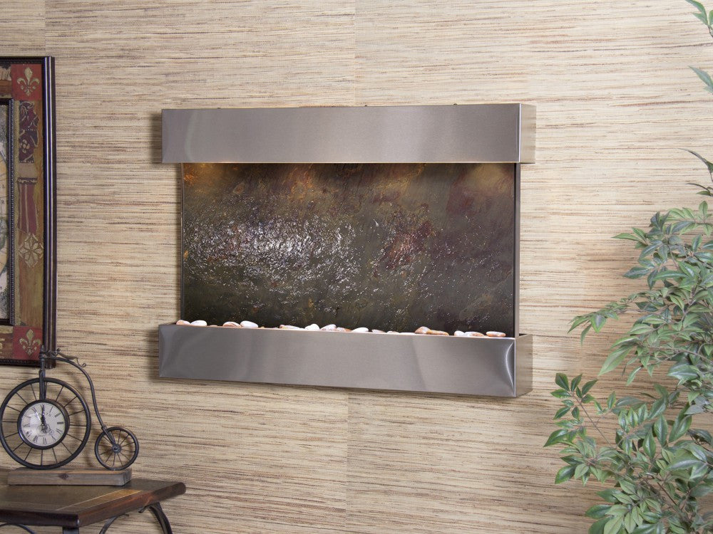 Wall Fountain - Reflection Creek - Multi-Color FeatherStone - Stainless Steel - rcs2014