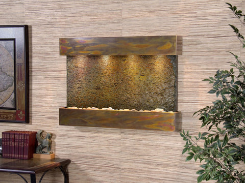 Wall Fountain - Reflection Creek - Multi-Color Slate - Rustic Copper - rcs1004
