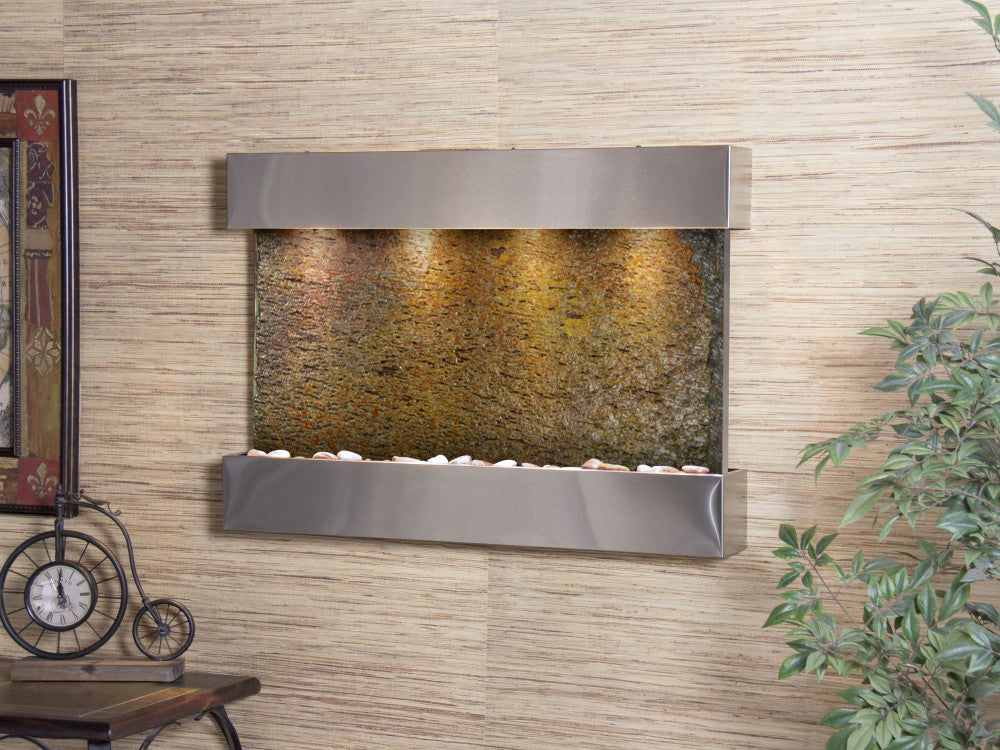 Wall Fountain - Reflection Creek - Multi-Color Slate - Stainless Steel - rcs2004