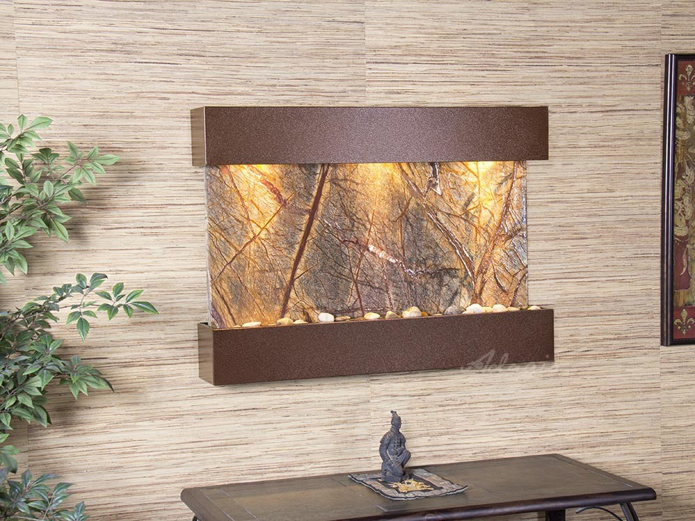 Wall Fountain - Reflection Creek - Rainforest Brown Marble - Copper Vein - rcs5006