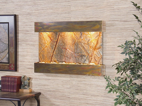 Wall Fountain - Reflection Creek - Rainforest Brown Marble - Rustic Copper - rcs1006