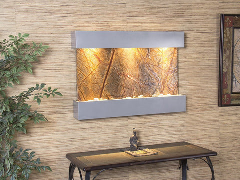 Wall Fountain - Reflection Creek - Rainforest Brown Marble - Silver Metallic - rcs4506