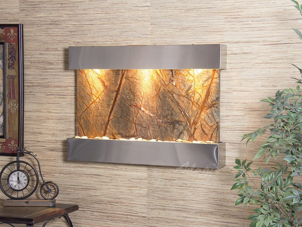 Wall Fountain - Reflection Creek - Rainforest Brown Marble - Stainless Steel - rcs2006