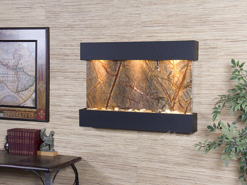 Wall Fountain - Reflection Creek - Rainforest Brown Marble - Textured Black - rcs1706