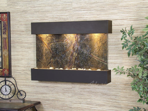 Wall Fountain - Reflection Creek - Rainforest Green Marble - Antique Bronze - rcs3505