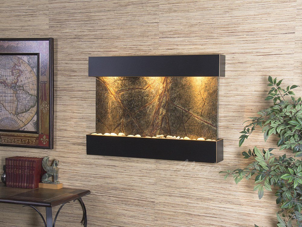 Wall Fountain - Reflection Creek - Rainforest Green Marble - Blackened Copper - rcs1505