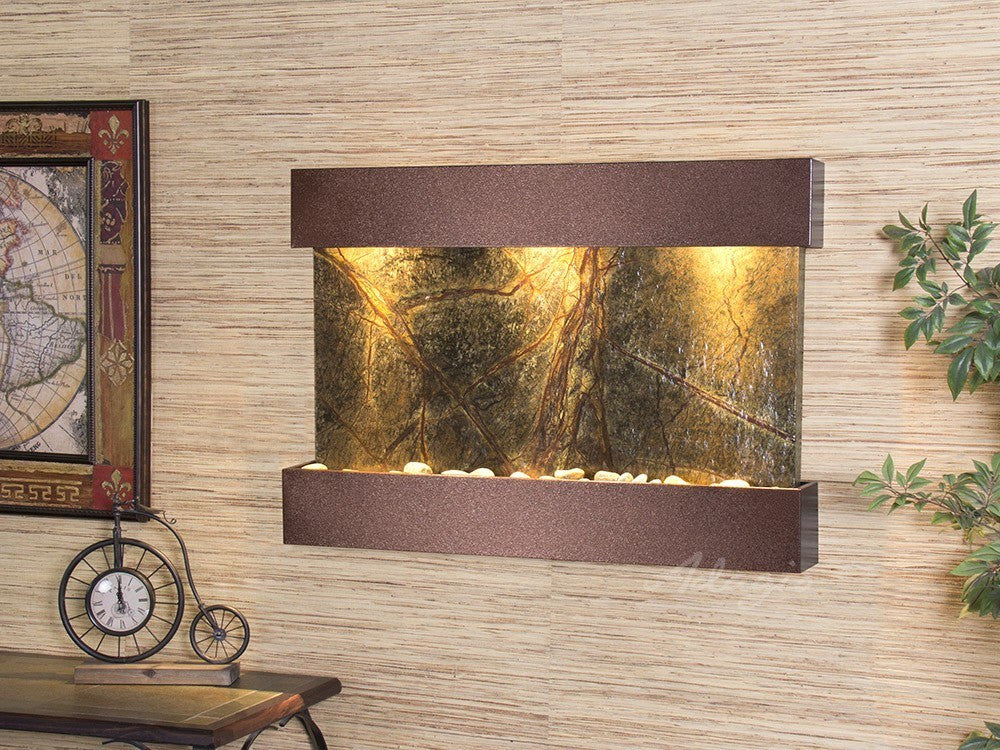 Wall Fountain - Reflection Creek - Rainforest Green Marble - Copper Vein - rcs5005