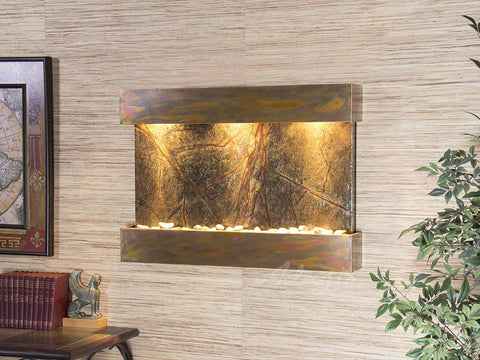 Wall Fountain - Reflection Creek - Rainforest Green Marble - Rustic Copper - rcs1005
