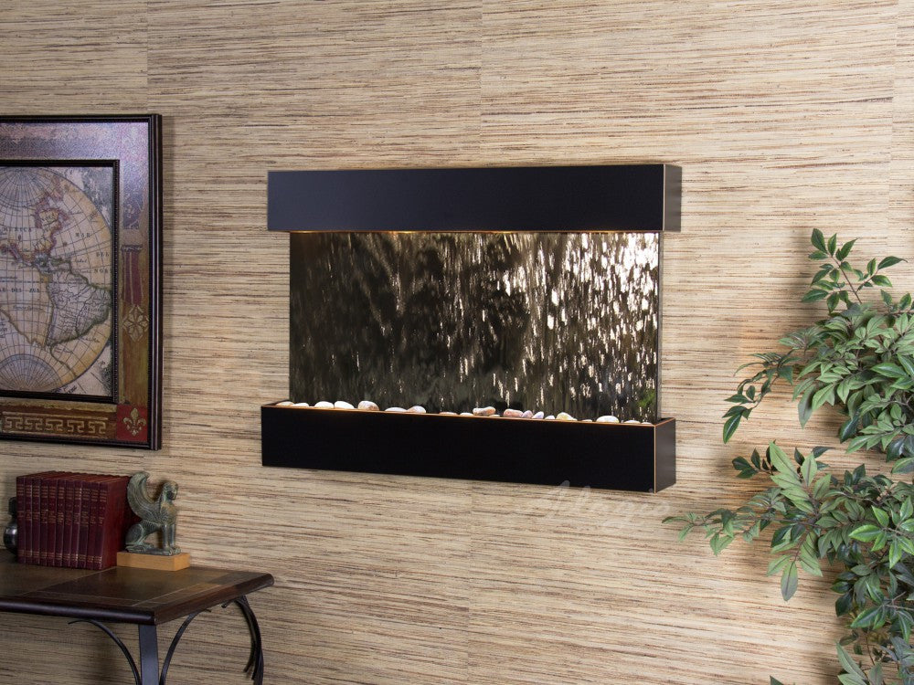Wall Fountain - Reflection Creek - Silver Mirror - Blackened Copper - rcs1540