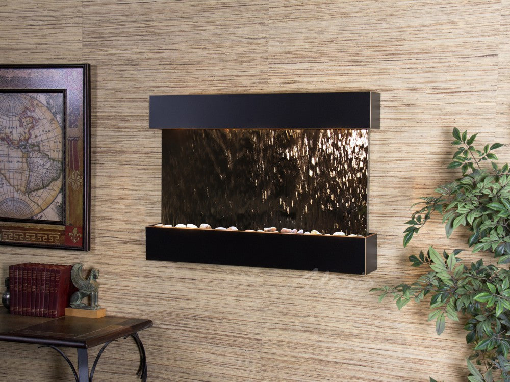 Wall Fountain - Reflection Creek - Silver Mirror - Blackened Copper - rcs1541